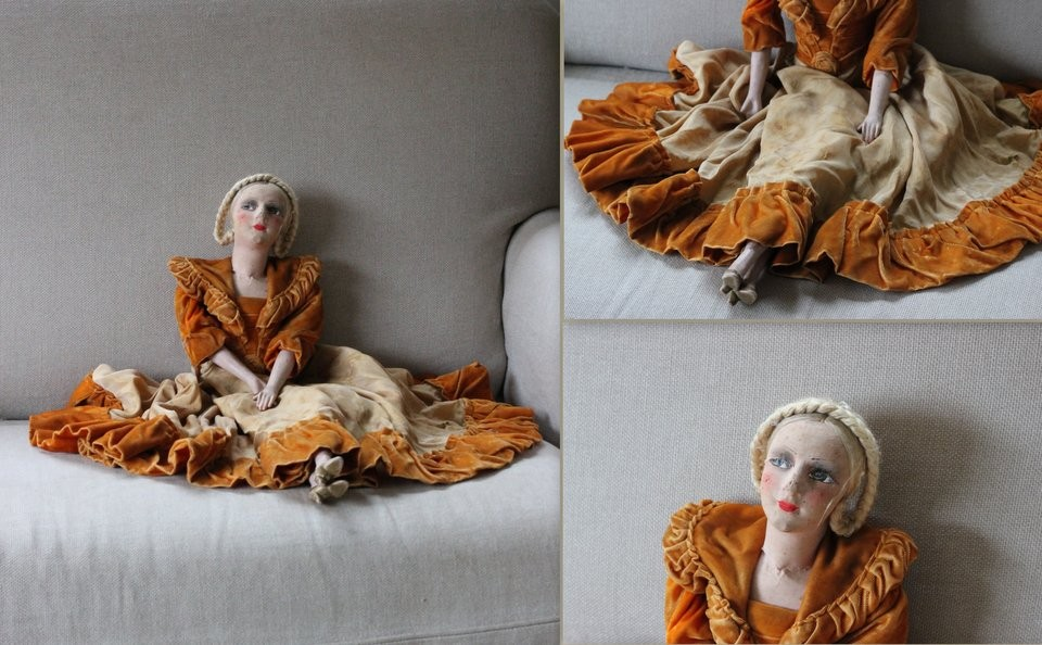 Antieke Franse sofa doll pop